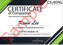 CMFAS Certificate of Completion Sample